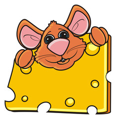 mouse, rat, rodent, pest, animal, isolated, toy, piece, cartoon, brown, pet, cheese, looking, paws, smile, food, peek up, eat, happy, funny