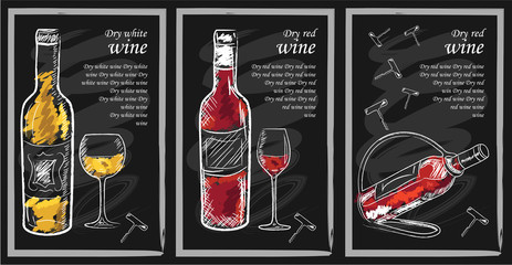 Drink menu elements on chalkboard. Restaurant blackboard for drawing. Hand drawn chalkboard  drink menu vector illustration. wine list, drink menu board, glass of the white wine and red wine