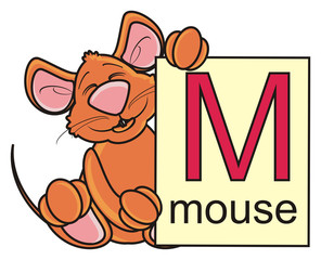 mouse, rat, rodent, pest, animal, isolated, toy,  cartoon, brown, pet, school, letter, M, letter M, ABC, word, learn, children, book, peek, hold