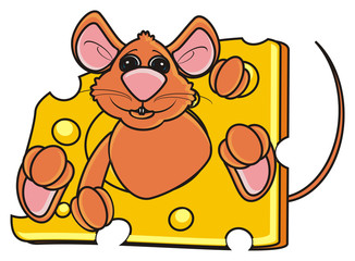 mouse, rat, rodent, pest, animal, isolated, toy, piece, cartoon, brown, pet, cheese, peek up, legs, paws, tail, food, eat, sit