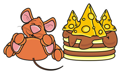 mouse, rat, rodent, pest, animal, isolated, toy, piece, cartoon, brown, pet, cheese, cake, dessert, baking, gift, holiday, congratulations, delicious, birthday