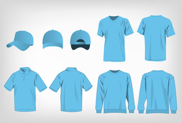 Sport baby blue t-shirt, sweater, polo shirt and baseball cap isolated set vector