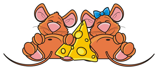 couple, she, he, girl, boy, mouse, rat, rodent, pest, animal, isolated, toy, piece, cartoon, brown, pet, cheese, bow, together, near, friends