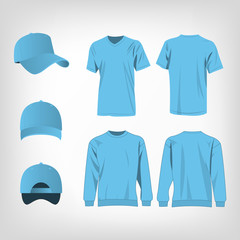 Sport baby blue t-shirt, sweater and baseball cap isolated set vector