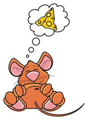 pose, lie, dream, thoughts, desires, callout, note, mouse, rat, rodent, pest, animal, isolated, toy, piece, cartoon, brown, pet, cheese, lying
