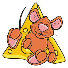 mouse, rat, rodent, pest, animal, isolated, toy, piece, cartoon, brown, pet, cheese, peek up, paws, tail, happy, food, eat