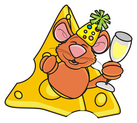 mouse, rat, rodent, pest, animal, isolated, toy, piece, cartoon, brown, pet, cheese, holiday, birthday, gift, congratulations, champagne, cap, glass, appear inside