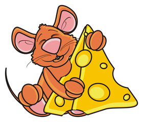 mouse, rat, rodent, pest, animal, isolated, toy, piece, cartoon, brown, pet, cheese, hold, happy, food, eat