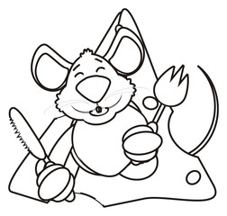 mouse, rat, rodent, pest, animal, isolated, toy, piece, cartoon, brown, pet, cheese,  fork, knife, tools, culture, dishes, dining room, sharp, prick, cut, blade, silhouette, line, coloring