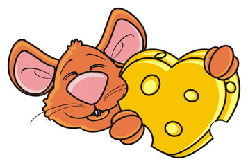 mouse, rat, rodent, pest, animal, isolated, toy, piece, cartoon, brown, pet, cheese, love, form, heart, hold, gift, happy