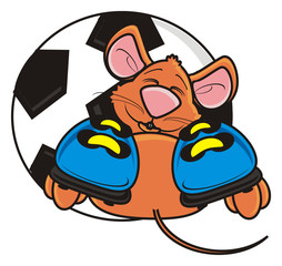 game, sports, boots, football, goal, ball, football, soccer, play, mouse, rat, rodent, pest, animal, isolated, toy, piece, cartoon, brown