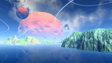 Fantasy alien planet. Rocks and lake