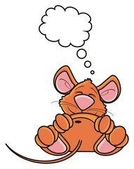 mouse, rat, rodent, pest, animal, isolated, toy, cartoon, brown, pet, pose, lie, dream, thoughts, desires, callout, note, clean, empty, blank