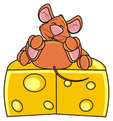 mouse, rat, rodent, pest, animal, isolated, toy, piece, cartoon, brown, pet, cheese, pose, lie, ate, sleep, happy, head, cheese head