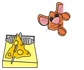mousetrap, mouse, rat, rodent, pest, animal, isolated, toy, piece, cartoon, brown, pet, cheese, peek, see, bait, trap, notice