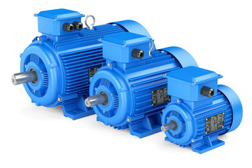 Group of blue electric industrial motors. Isolated on white back