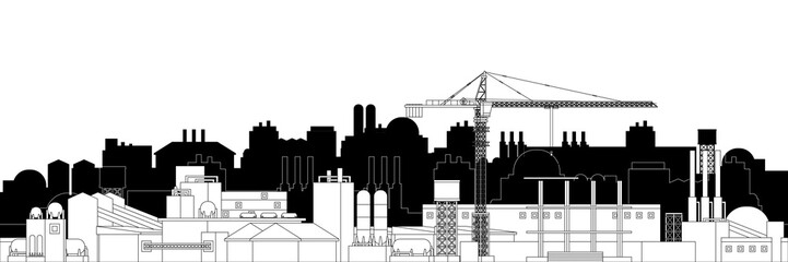 The industrial plant and manufacture building with crane. Vector illustration