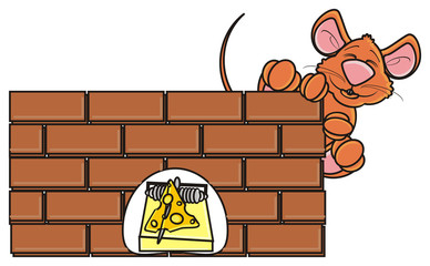 look out, hang around, mouse, rat, rodent, pest, animal, isolated, toy, piece, cartoon, brown, pet, cheese, wall, brick, building, mousetrap