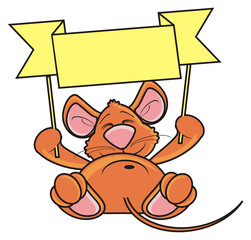 mouse, rat, rodent, pest, animal, isolated, toy, piece, cartoon, brown, pet, hold, lying,  plaque, banner, clean, transporant, demand, ask, empty