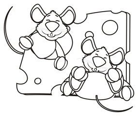silhouette, line, coloring, hug, hold, sleep, piece, look out, hang around, mouse, rat, rodent, pest, animal, isolated, toy, piece, cartoon, pet, cheese, two, couple, 2, happy, kind, funny, dream