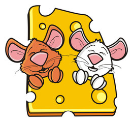 look out, hang around,  two, 2, couple, head, face, muzzle, mouse, rat, rodent, pest, animal, isolated, toy, piece, cartoon, brown, pet, cheese, white, happy, kind, funny