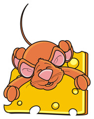 hug, hold, sleep, piece, mouse, rat, rodent, pest, animal, isolated, toy, piece, cartoon, brown, pet, cheese, happy, kind, funny