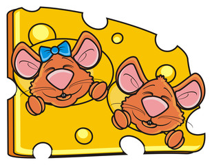 look out, hang around, bow, two, 2, couple, head, face, muzzle, mouse, rat, rodent, pest, animal, isolated, toy, piece, cartoon, brown, pet, cheese, happy, kind, funny