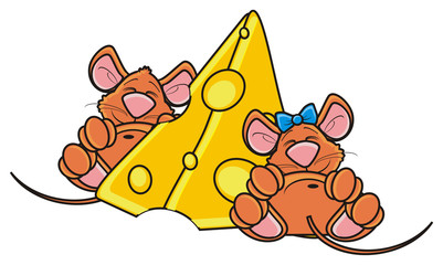 mouse, rat, rodent, pest, animal, isolated, toy, cartoon, brown, pet, two, bow, couple, sleep, piace, big, cheese, lying, happy, kind, funny