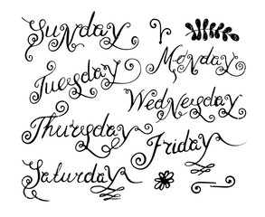 Handwritten days of the week.