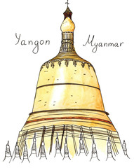 Watercolor Hand drawn architecture sketch of Shwedagon Pagoda, Yangon, Myanmar with lettering isolated