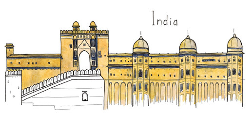 Watercolor Hand drawn sketch of Amber Fort, Jaipur, India landmark with lettering