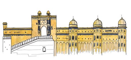 Watercolor Hand drawn sketch of Amber Fort, Jaipur, India landmark