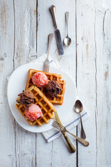 Tasty Waffle with Cream, Chocolate and Strawberry Ice Cream