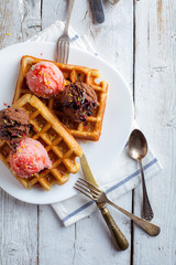 Tasty Waffle with Cream, Chocolate and Strawberry Ice Cream