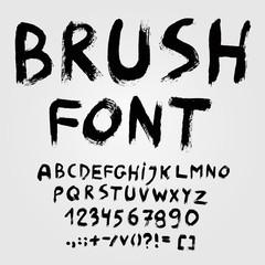 Hand drawn brush font alphabet. Vector illustration.