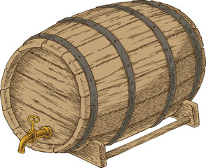 Wooden Oak Barrel with an Iron Rims