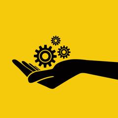 Hand holding gears. Vector Illustration.
