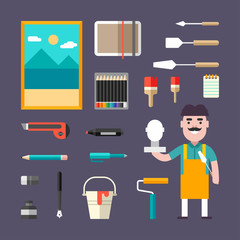 Painting Tools and Appliances. Male Cartoon Character Painter. People Profession and Hobbie. Set of Vector Illustrations in Flat Style