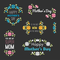 Happy Mothers Day. Set of Vector Design Elements with Flowers. Greeting Card Templates. Vector Illustration