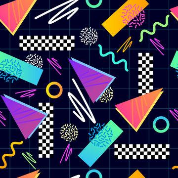 Eighties Seamless Pattern Vector