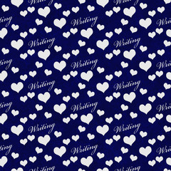 Navy Blue and White I Love Writing Tile Pattern Repeat Backgroun