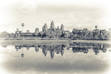 Angkor Wat temple with reflection  in lake