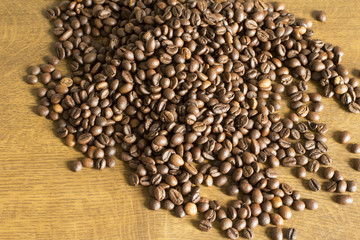 Brown coffee grain on the desk