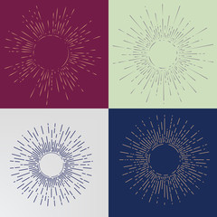 Sunburst on Starburst Element for Logo Creating or using as Icon. Hand Drawing style.
