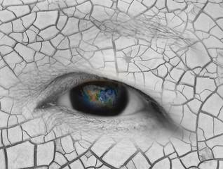 The earth in eldery women eye ,including elements furnished by N