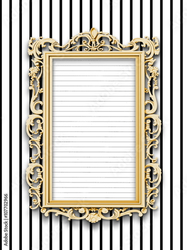 Close Up Of One Blank Golden Baroque Picture Frame With Striped