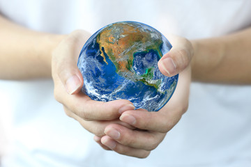 hand hold earth., Planet world. Elements of this image furnished