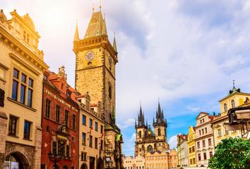 Keuken foto achterwand Brussel Old Town Square and Astronomical Clock Orloj in Prague. Czech Republic