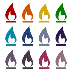 Gas Flame Icons set