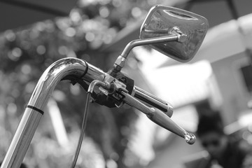 Aluminium Prints Bicycle handle of vintage bicycle